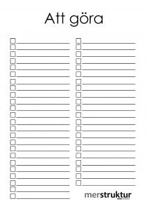 Ifyllnadsbar att-göra-lista för att samla det du vill komma ihåg. merstruktur.se