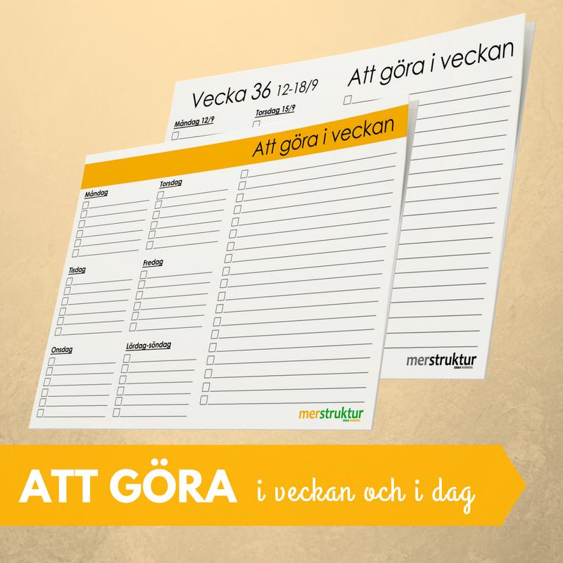 Att-göra-lista för veckan samt dag för dag