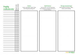 Daglig målkalender | En hjälp för dig att hålla koll på dina mål och etablera nya goda vanor! merstruktur.se