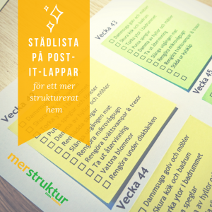 Städlista på post-it-lappar