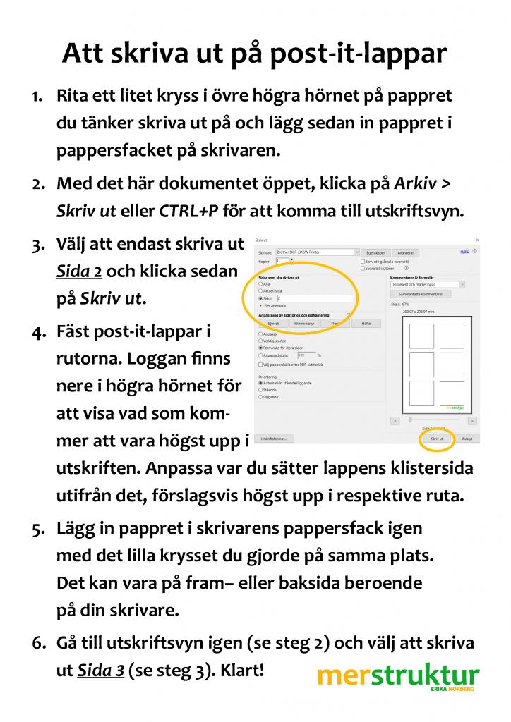 Skriv ut din städlista på post-it-lappar! merstruktur.se