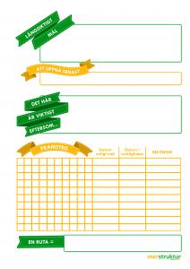 Långsiktig målkalender för att konkretisera dina mål och hålla reda på hur långt du har kommit. merstruktur.se