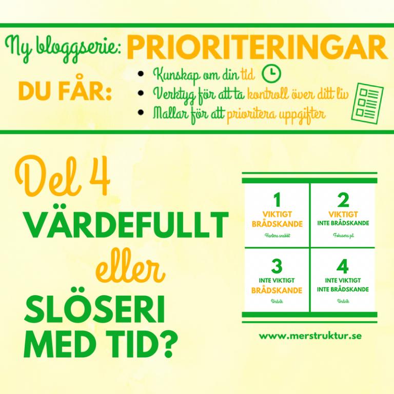 Prioriteringar – Vad är värdefullt och vad är slöseri med tid?