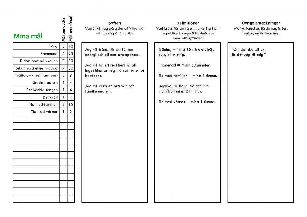Daglig målkalender - för att göra dina mål till vanor. merstruktur.se