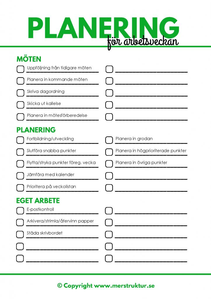 Checklista för vad du borde planera in och slutföra varje fredag för en mer produktiv arbetsvecka. merstruktur.se