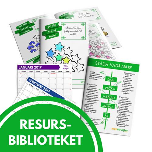 Resursbiblioteket med gratismaterial för mer struktur på livet. merstruktur.se