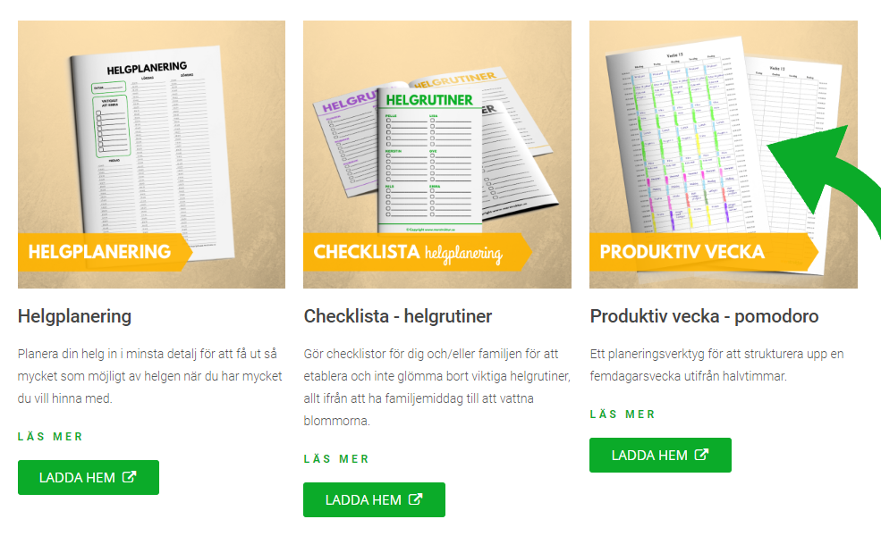 Effektivt planeringsverktyg - pomodoro - samt kalendrar för varje månad 2019. merstruktur.se